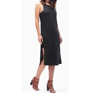 Splendid Black Side Slit Midi Dress